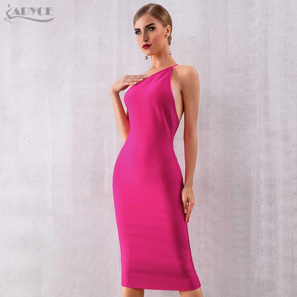 ADYCE 2019 новое летнее Бандажное платье с одним плечом женские платья сексуальные розовые красные тонкие лямки Клубные платья знаменитые вечерние платья