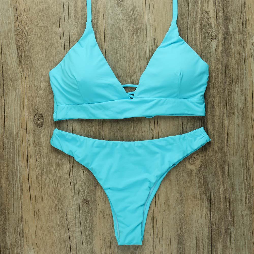 Sexy Thong Bikinis Women 2019 Brazilian Swimsuit Solid Bathing Suit Strape Push Up Swimwear Female Mayo Beach Bathers