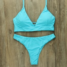 Sexy Bikinis Women 2019 Brazilian Swimsuit Solid Bathing Suit Strape Push Up Swimwear Female Mayo Beach Bathers