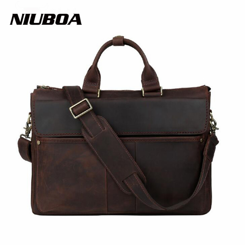 NIUBOA Handbag Men 100% Genuine Leather Briefcases Shoulder Bags Laptop Big Vintage Tote Crossbody Messenger Bags Designer Bag цена