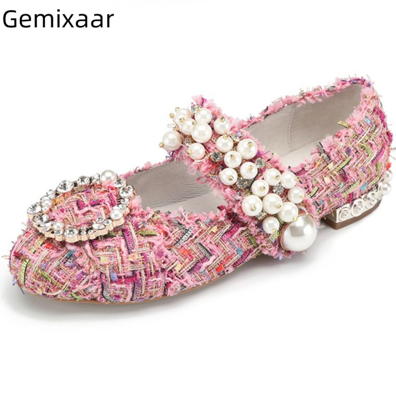 Comfy Flats Shoes Woman Sweet Pink Round Toe Decor Crystal Ankle Buckle Studded Pearls Footwear 2019 Chic Pink Pearl Flats WomenComfy Flats Shoes Woman Sweet Pink Round Toe Decor Crystal Ankle Buckle Studded Pearls Footwear 2019 Chic Pink Pearl Flats Women