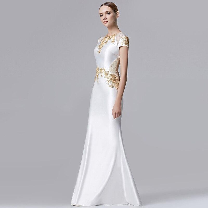 Coniefox Elegant Round Neck Embroidery White Prom Long Dresses ...