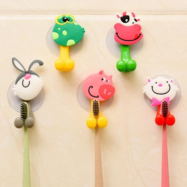 High Quality cute Cartoon sucker toothbrush holder suction hooks bathroom set accessories Eco-Friendly