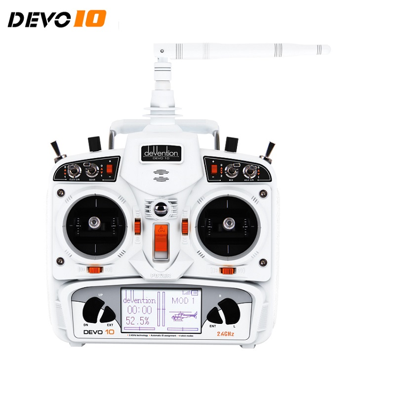 Walkera  DEVO 10 Transmitter 10 Channel Remote Controller White 20km Radio System niorfnio portable 0 6w fm transmitter mp3 broadcast radio transmitter for car meeting tour guide y4409b