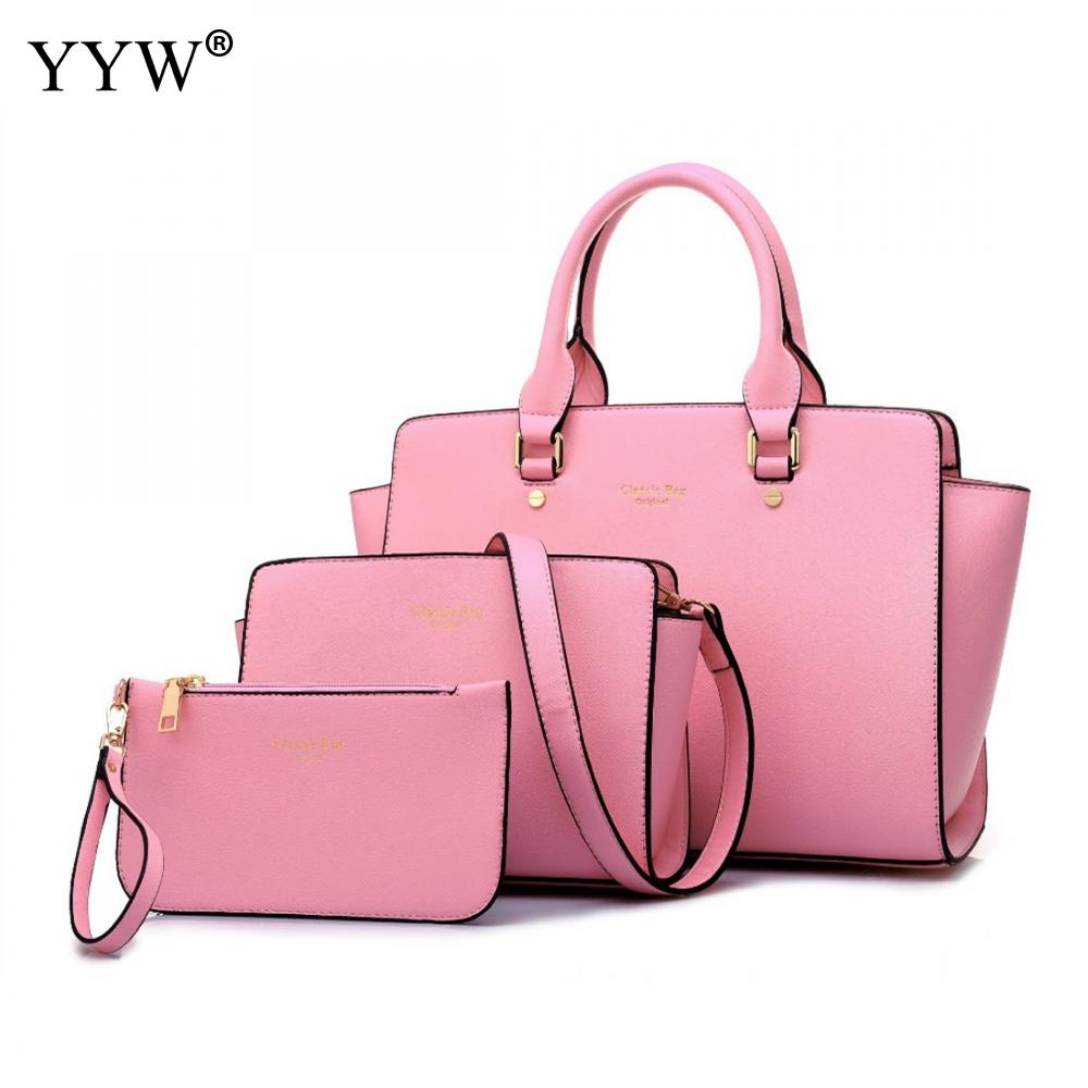 Pink To-Handle Bags Set Buy 1 Get 3 Women's PU Leather Handbags Brands Lady's Clutch Bag Luxury Women Crossbody Shoulder Bag 2 pcs set red pu leather handbags women bag set famous brands shoulder bag lady top handle bags evenging clutch bag womens pouch