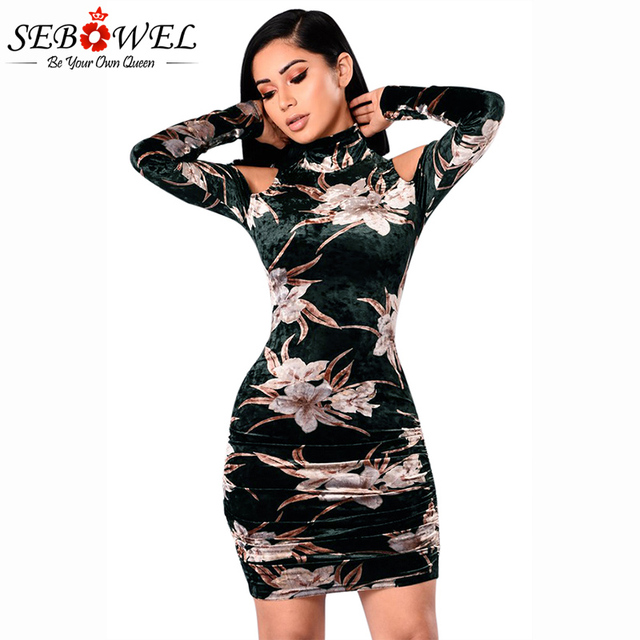 SEBOWEL 2018 Vintage Print Floral Velvet Slim Mini Dress Women Long Sleeve  Cold Shoulder Retro Short Dresses Ladies Party Gowns 133ef0499