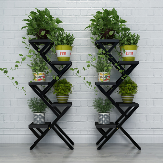 5 Pots Balcony Indoor Flower Pot Holder Garden Flower Stand Iron Pergolas Home Decoration Multi Function Floor Stands Shelf & 5 Pots Balcony Indoor Flower Pot Holder Garden Flower Stand Iron ...