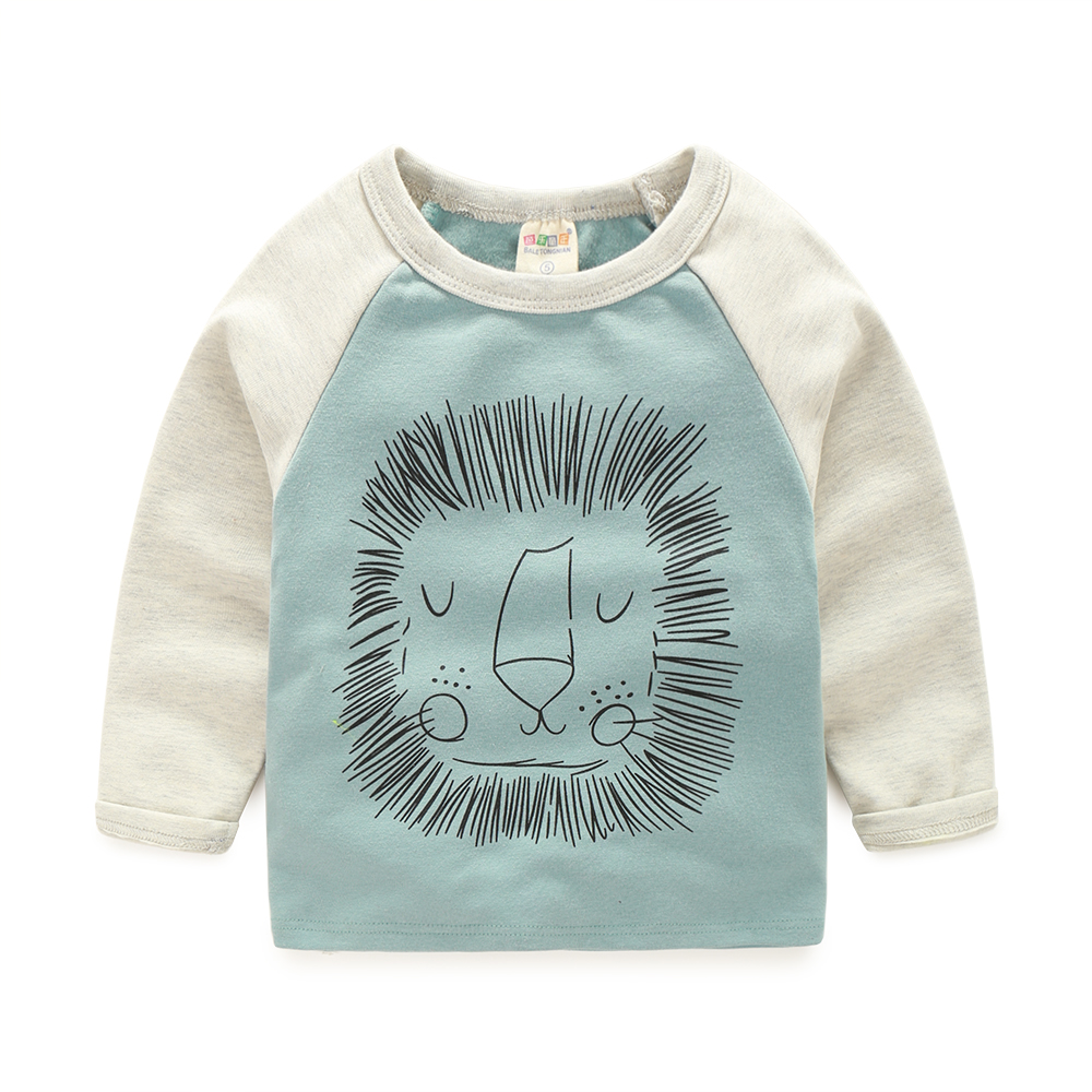 Long Sleeve Infant Baby Boy T-shirt Top Cotton Cardigan O-neck Kid Tshirt High-quality Cartoon Lion Children Sweatshirt Clothing