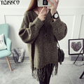 Women Sweater 2016 Winter New Fashion Knitted Pullovers High Quality Solid Sweaters Tassel Pull Femme Sweter Mujer SZQ066