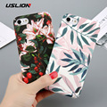 Funda USLION para iPhone 7 6 X XR XS Max Flower Cherry Tree Hard PC fundas de teléfono colores dulces hojas para iPhone 6 6 s 7 8 Plus