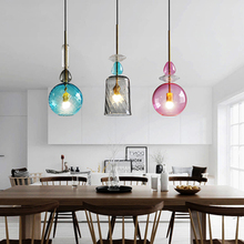 Modern Led Pendant Lights Nordic Stained Glass Candy Pendant Lamp Dining Room Cafe Bar Kitchen Fixtures Decor Lighting Luminaire mediterranean tiffany pendant lights stained glass lamp light for kitchen home decor lighting fixtures vintage led luminaire