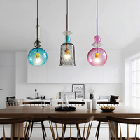 Modern Led Pendant Lights Nordic Stained Glass Candy Pendant Lamp Dining Room Cafe Bar Kitchen Fixtures Decor Lighting Luminaire