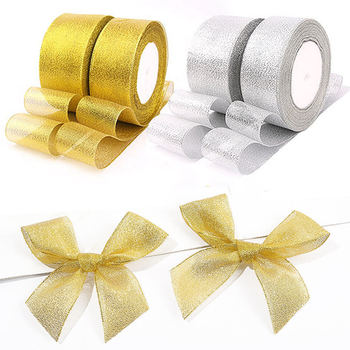 25Yard 22M Gold Silver Glitter Satin Ribbons for Christmas Wedding Party Decoration DIY Craft Cake Gift Bow-knot Packing Ribbon