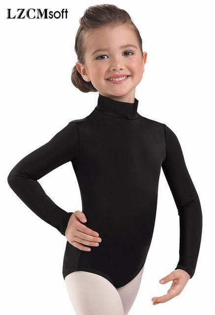 e787cf477baa LZCMsoft Girls Spandex Lycra Turtleneck Long Sleeve Leotard Black ...