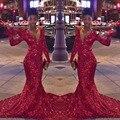 Custom Made Red Bling Lantejoulas Manga Longa Sereia Vestidos de Baile 2017 Sexy Decote Em V Evening Vestido de Festa Vestidos de formatura