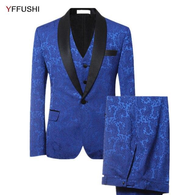 e89dfbc96177 YFFUSHI 2018 Marque Hommes Costume 3 Pièces De Luxe Bleu Jacquard smoking  Partie Robe Costumes Slim