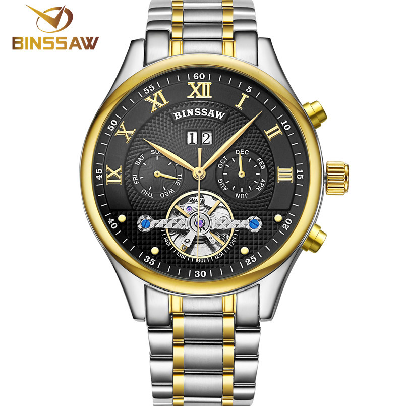 BINSSAW Luxury Brand Tourbillon Mens Mechanical Sport Watches Fashion Business Men Automatic Stainless Steel Wrist Watch relojes mce automatic watches luxury brand mens stainless steel self wind skeleton mechanical watch fashion casual wrist watches for men