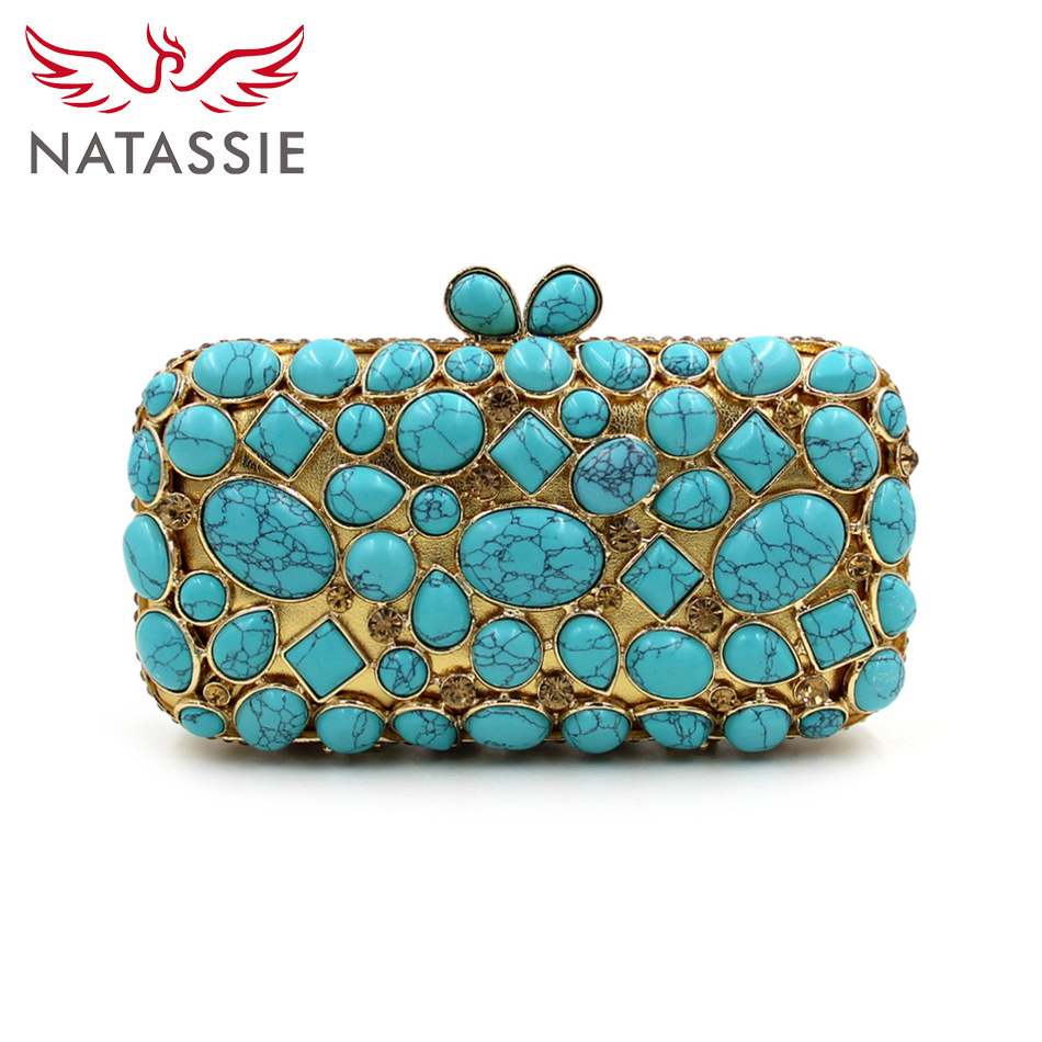 ФОТО NATASSIE Evening Purses and Handbags Ladies Luxury Green Bag Designer Clutches Chain Crystal Clutch Evening Bags
