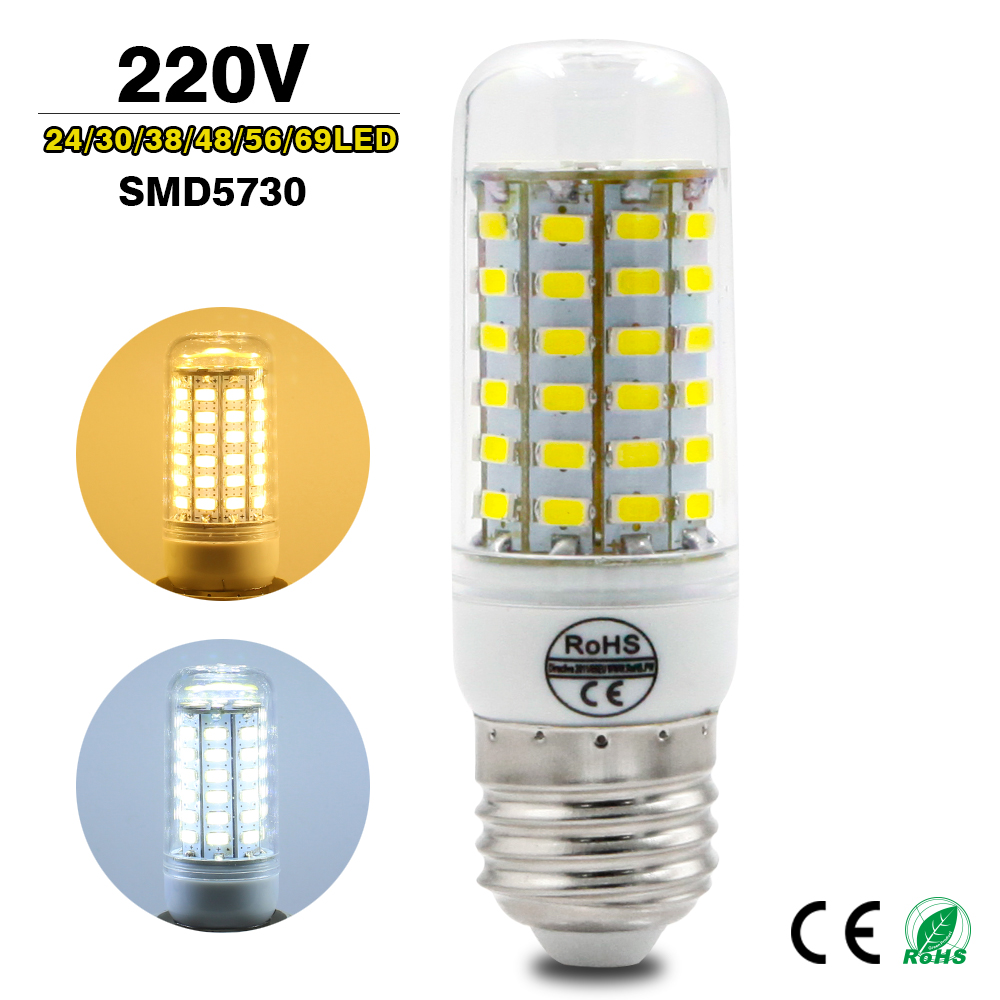 High Power 220v LED Lamp E27 E14 Replace 7W 12W 15W 18W 20W Fluorescent <font><b>Light</b></font> <font><b>SMD</b></font> 5730 24/36/<font><b>48</b></font>/56/69LEDs Lampada led Bulb
