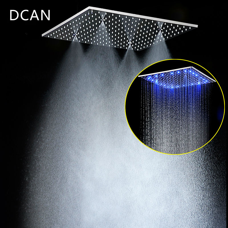 Multi Function Led Shower Heads 20'' Ceiling RGB Rain SUS304 Rainfall & SPA Mist Massage Different Options & Light Big Shower