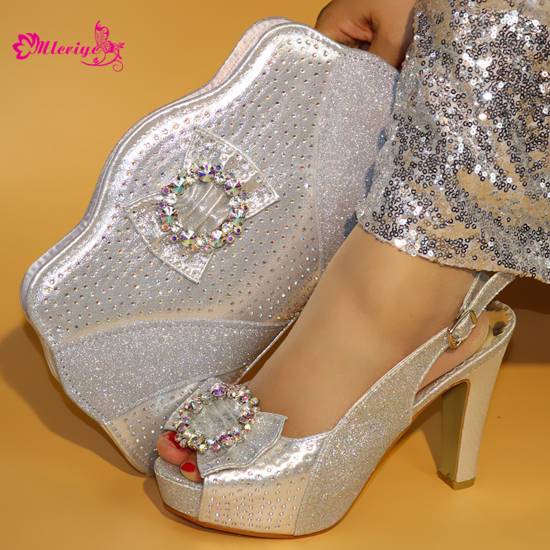 silver African Party Italian Shoes with Matching Bags for Women Italian Ladies Shoe and Bag Set Decorated with Rhinestone doershow african women matching italian red color shoes and bag set decorated with rhinestone italian ladies shoe and bag sab1 2