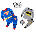 Pyjamas kids 2017 autumn/winter children clothing 2pcs long-sleeve superhero Superman/Batman sleepwear boys pyjamas