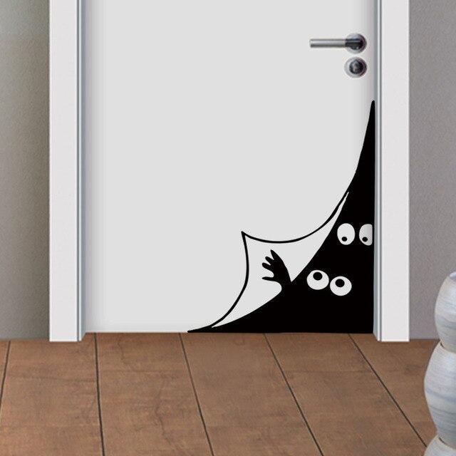 creative humour peeping monster eyes wall decals funny door corner
