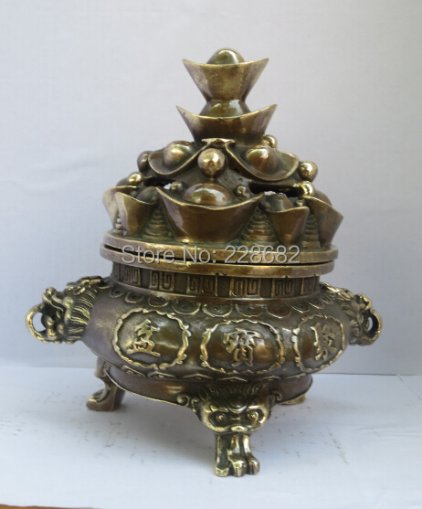 christmas decorations for home collect chinese old copper carved classic treasure bowl incense burner chinese censer 003 - Copper Christmas Decorations