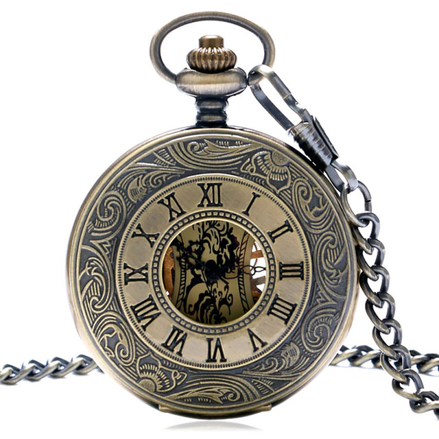 Steampunk Bronze Copper Mechanical Pocket Watch Skeleton Chain Roman Numbers Vin
