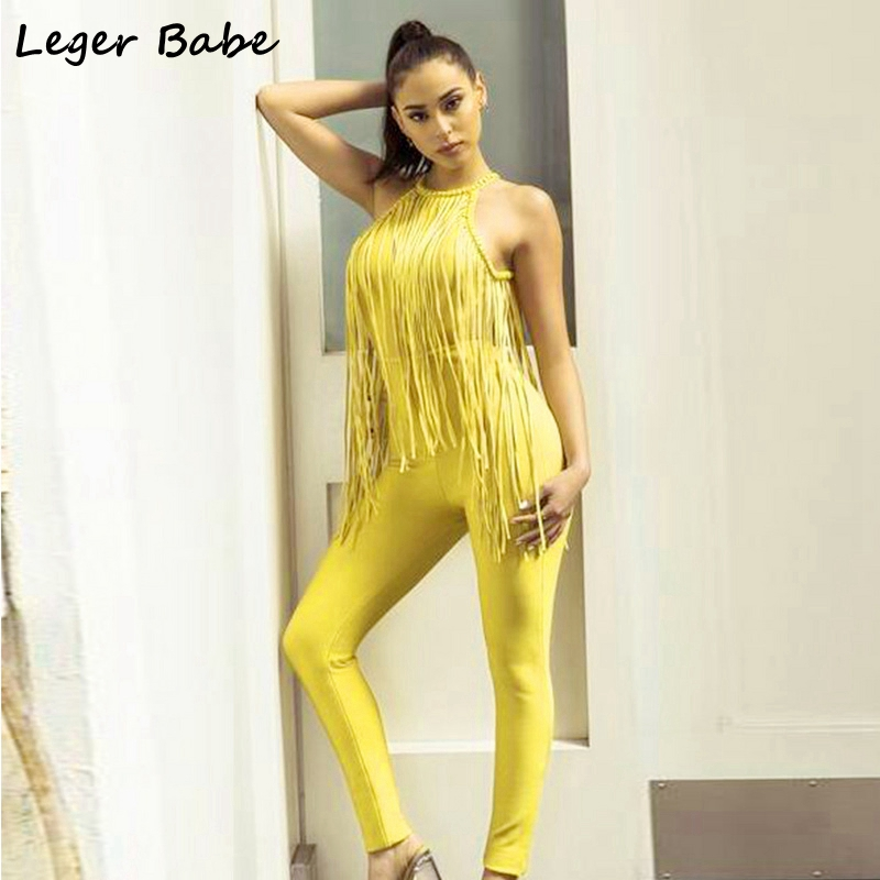 Leger Babe Women Overall Bandage Jumpsuits Sexy Halter Tassels Jumpsuit Backless Fringe Office Celebrity Party Bodysuit Yellow ...