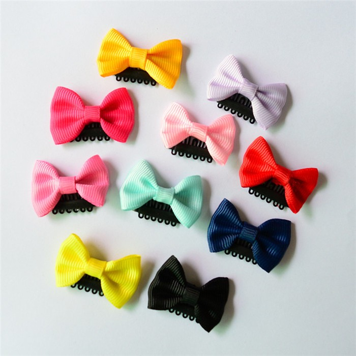 HTB1Ej7UJVXXXXbLXpXXq6xXFXXX1 Cute 10-Pieces Solid Polka Dot Mini Bow Baby Hair Grips - 2 Styles