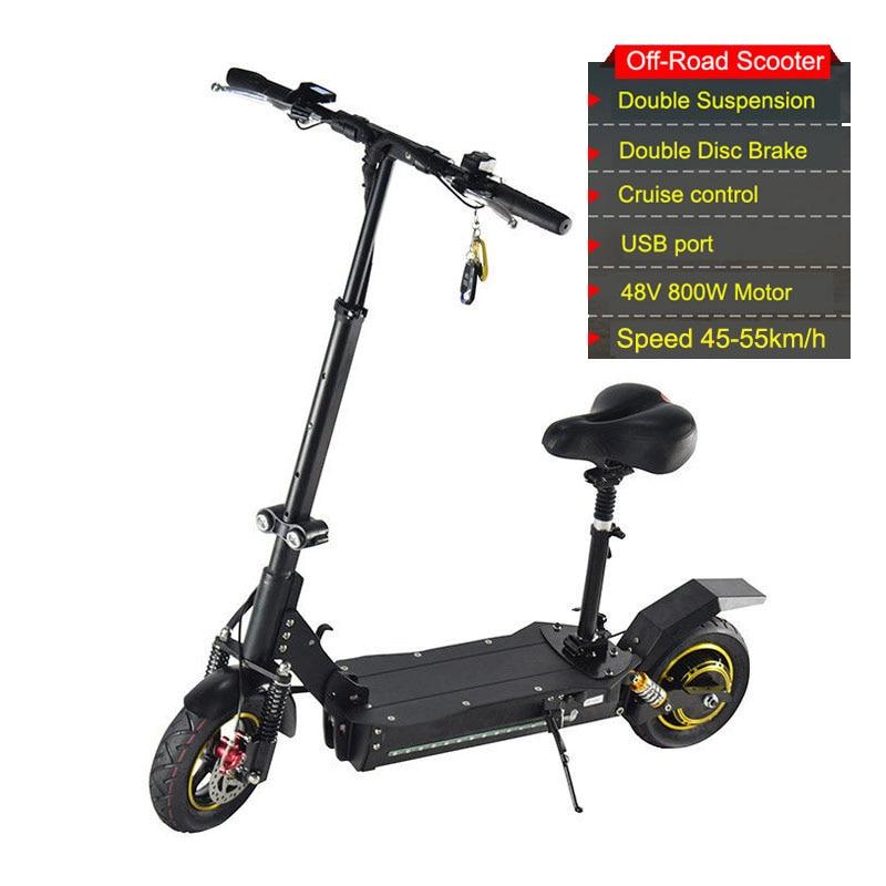 1600 W 10 pouces Scooter électrique pliable 2 roues électrique Longboard Hoverboard planche à roulettes hors route roue électrique pour adulte 48 V