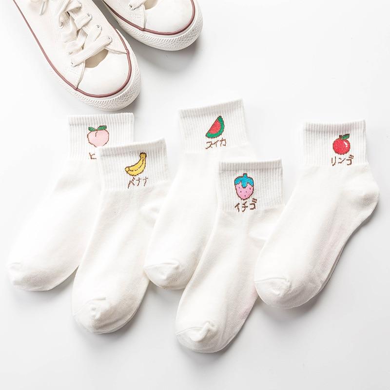 La MaxPa 2019 spring summer fresh fruit boat socks white soft cotton socks breathable cute Promotion women's travel Hosiery k776