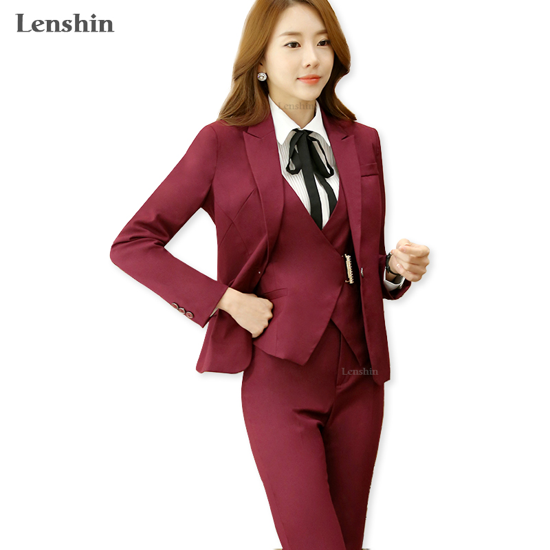 Lendhin Notched Collar Formal Pant Suit For Wedding Office Lady Uniform Designs Women Business Suits Red Blazer Work