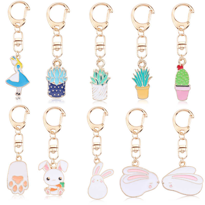 Cute Cartoon Rabbit Paw Keychains For Women Girls Lovely Potted Plant Cactus Alice Girl Key Ring Children Gift Bag Anime Pendant