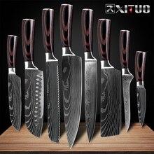 XITUO 8 дюймов японские кухонные ножи лазерный дамасский узор нож шеф-повара острый Santoku Кливер нож для нарезки нож инструмент EDC