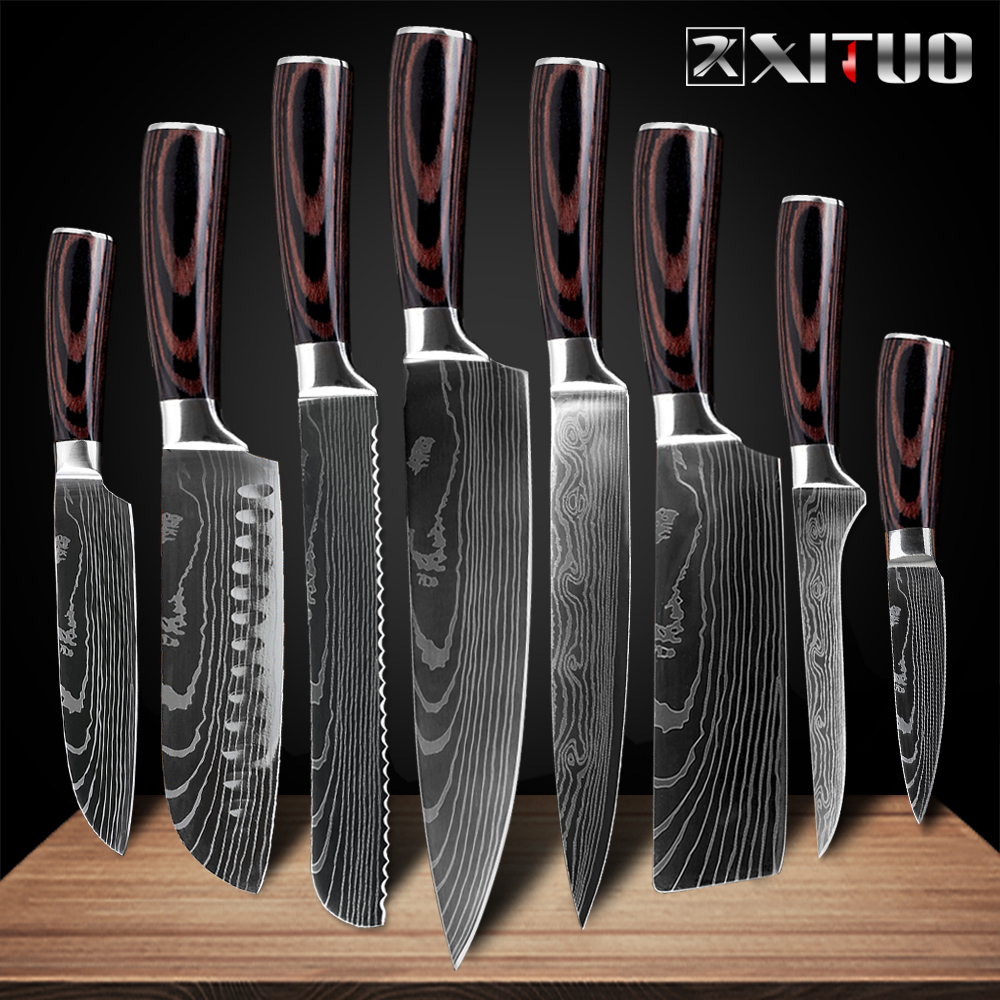 Японские кухонные ножи XITUO, 8 дюймов, лазерная заточка, узор дамасской стали, нож шеф-повара, острый сантоку, нож мясника, нарезка, для повседн...