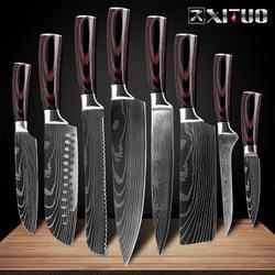 """XITUO 8 """"дюймов японские кухонные ножи имитация дамасский узор шеф-повар нож острый Santoku Кливер нарезки утилита ножи инструмент EDC"""
