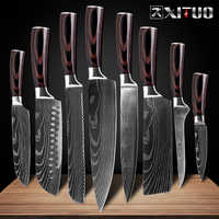 XITUO 8inch japanese kitchen knives Laser Damascus pattern chef knife Sharp Santoku Cleaver Slicing Utility Knives tool EDC