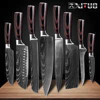 """XITUO 8 """"pouces couteaux de cuisine japonais Laser damas motif chef couteau tranchant Santoku couperet tranchage couteau utilitaire outil EDC"""