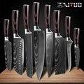 XITUO 8 pulgadas cuchillos de cocina japoneses láser Damasco patrón chef cuchillo afilado Santoku cuchilla rebanadora herramienta EDC