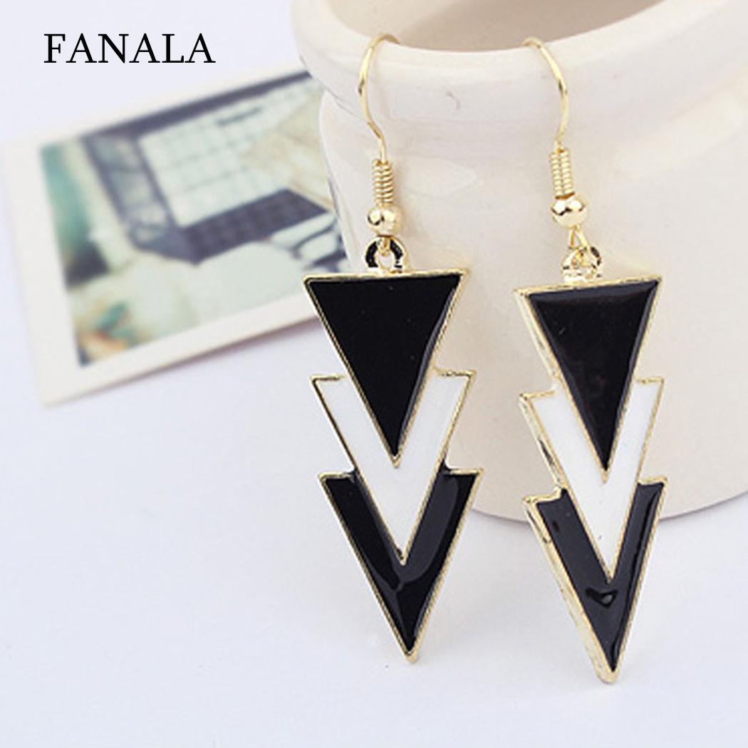 Elegant Charm Layers Pendant Women Three Of Black Earrings Triangle gold earrings for women