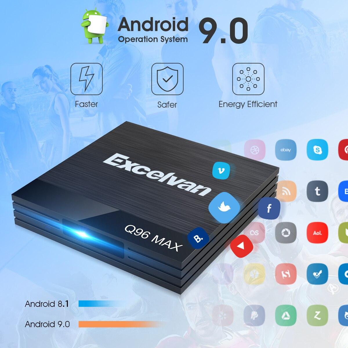 Excelvan Q96 Max Android 9.0 Smart TV Box 4GB RAM 32GB ROM Allwinner H6 USB3.0 100Mbps 2.4G WiFi Top Box Smart Media