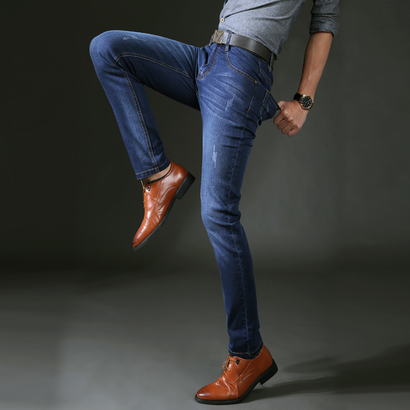 Four Seasons Can Wear Mens Fashion Brand Slim Straight Jeans Waist Young People Straight Slacks Quality Men Jeans