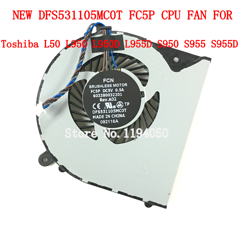 New Original Laptop Replacement Cpu Cooling Fan for Toshiba Satellite L950 L950D L955 L955D 6033B0032201 Cooling Fan
