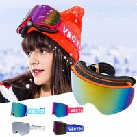 Outdoor Unisex Skiing Eyewear Ski Goggles Double Lens UV400 Anti Fog Ski Snow Glasses Skiing Men