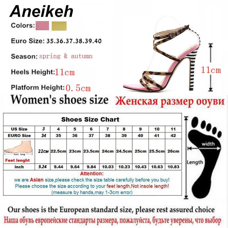 Aneikeh 2019 Seksi Gladyatör Sandalet Yaz Ayakkabı Kadın Ince Yüksek Topuklu Burnu açık Bayan Çapraz bağlı Ayak Bileği Kayışı Ayakkabı boyutu 35-40