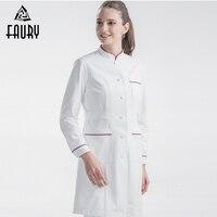 Doctors Workwear Spring Summer Nurses Long sleeved Women's White Coats Pharmacy Laboratory Beauty Salon Hospital Medical Uniform