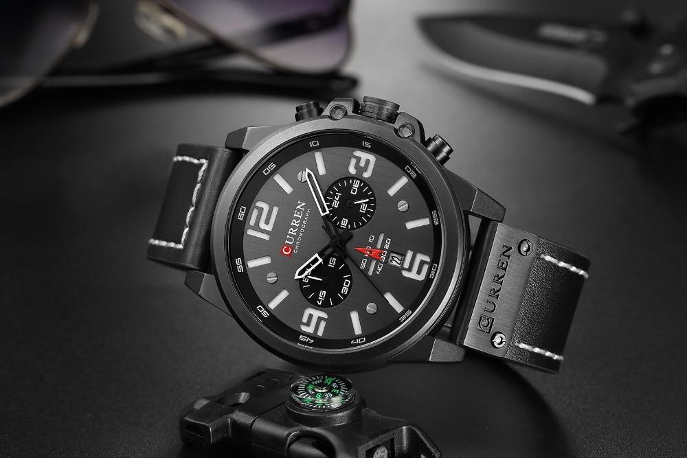 HTB1Ej8ZaET1gK0jSZFhq6yAtVXaG NEW CURREN Mens Watches Top Luxury Brand Waterproof Sport Wrist Watch Chronograph Quartz Military Leather Relogio Masculino