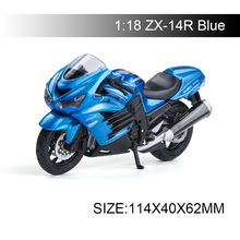 Maisto 1:18 Motorcycle Models Kawasaki Ninja ZX-14R ZX14R Blue Diecast Plastic Moto Miniature Race Toy For Gift Collection